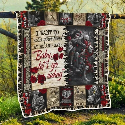 Skull biker I want to hold your hand blanket3
