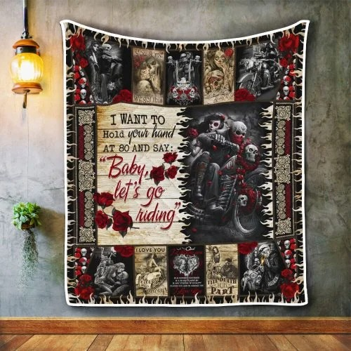 Skull biker I want to hold your hand blanket4