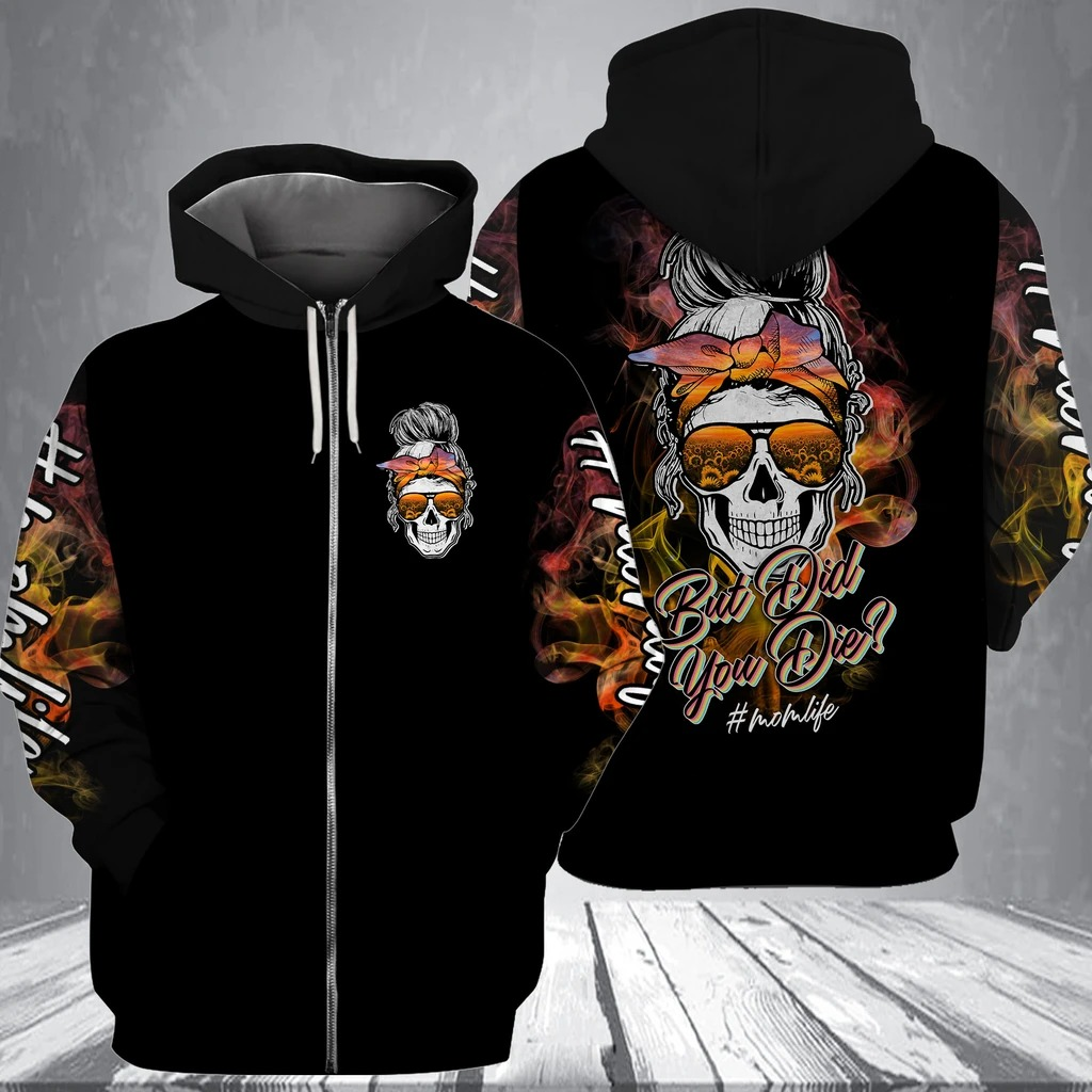 Skull but did you die sunflower 3d shirt and hoodie zip