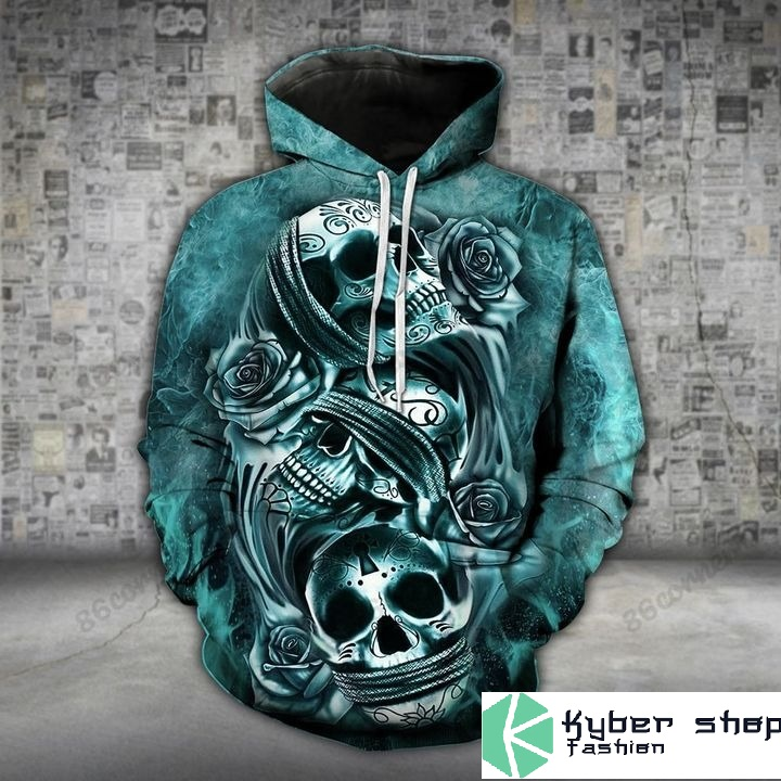 Skull trio turquoise 3D hoodie and legging2