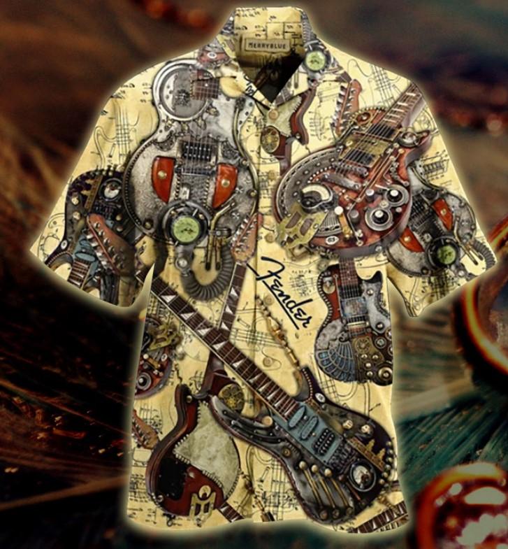 Steampunk guiltar hawaiian shirt2