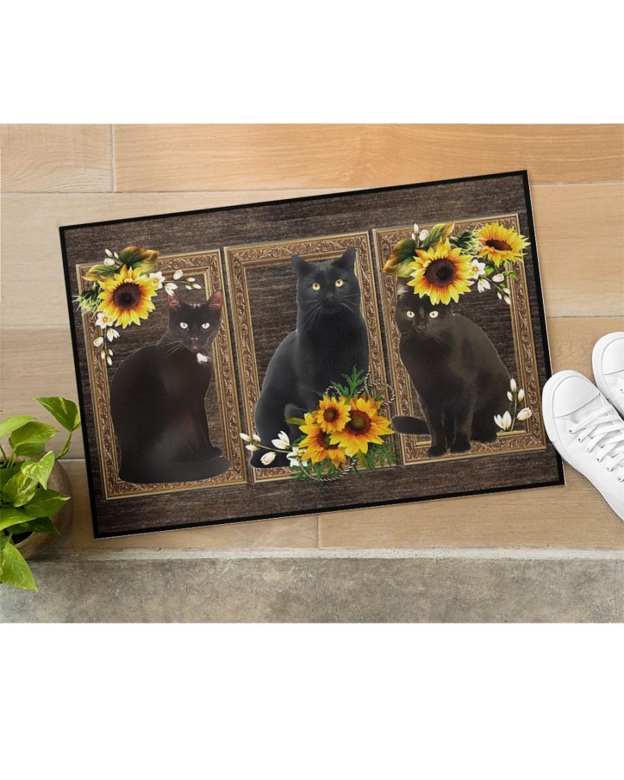 Sunflower black cat doormat2