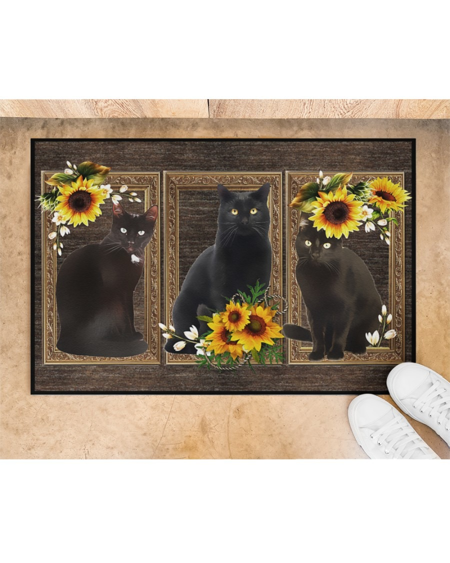 Sunflower black cat doormat4