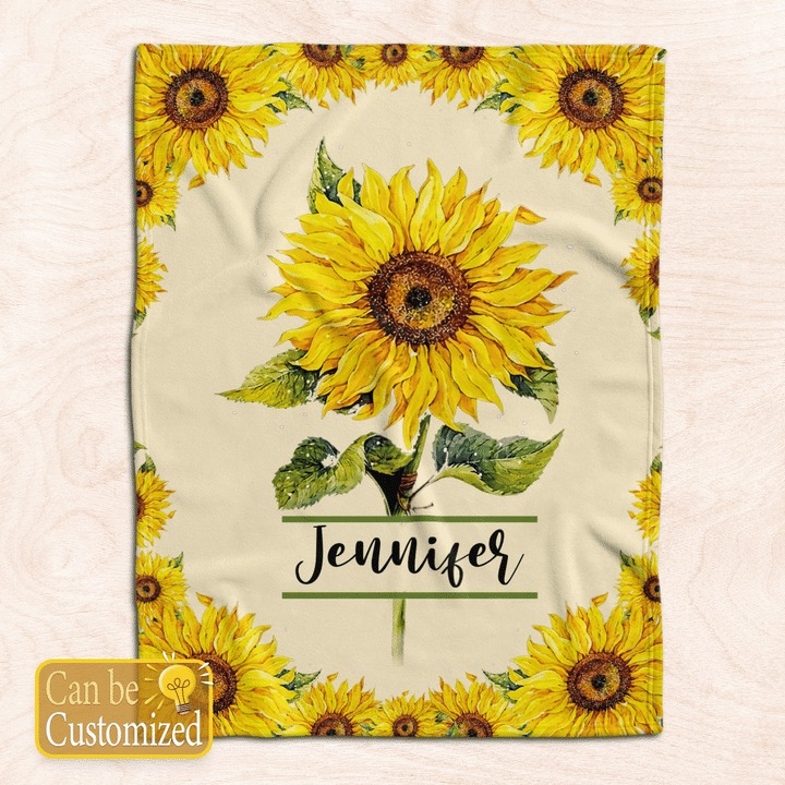 Sunflower custom personalized name blanket1