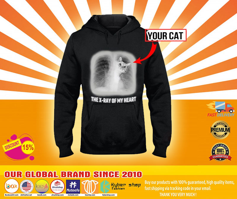 The x ray of my heart personalized cat 3D hoodie4