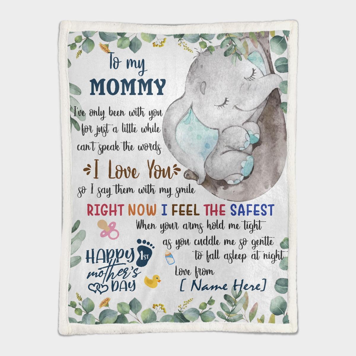 To my mom elephant custom name blanket3