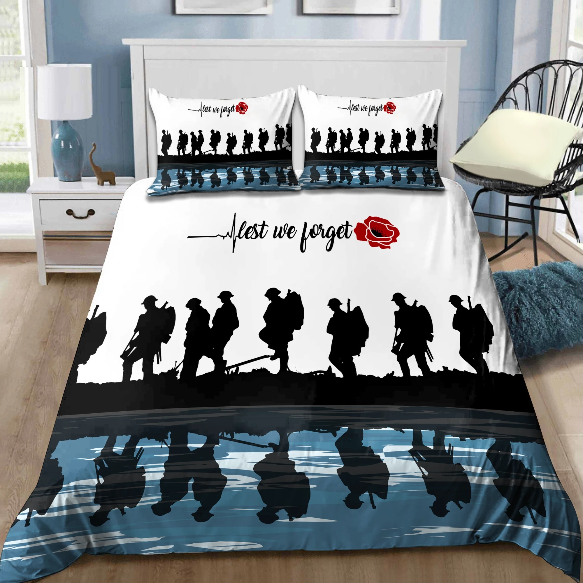 UK Veteran Let we forget honor the fallen bedding set2