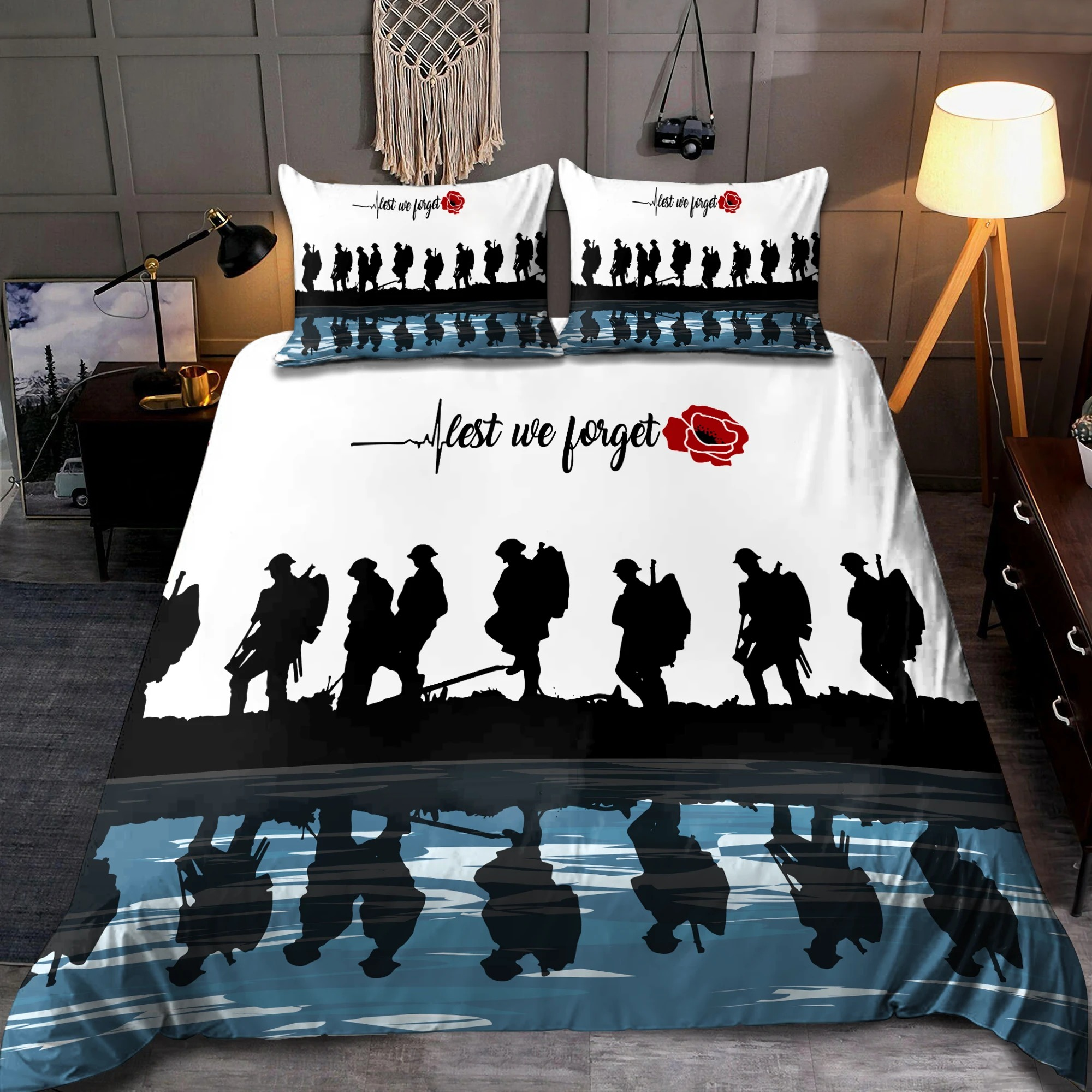 UK Veteran Let we forget honor the fallen bedding set3