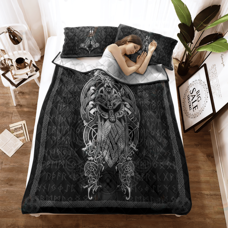 Viking Odin tattoo bedding set2