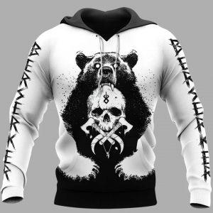 Viking and bear 3D hoodie