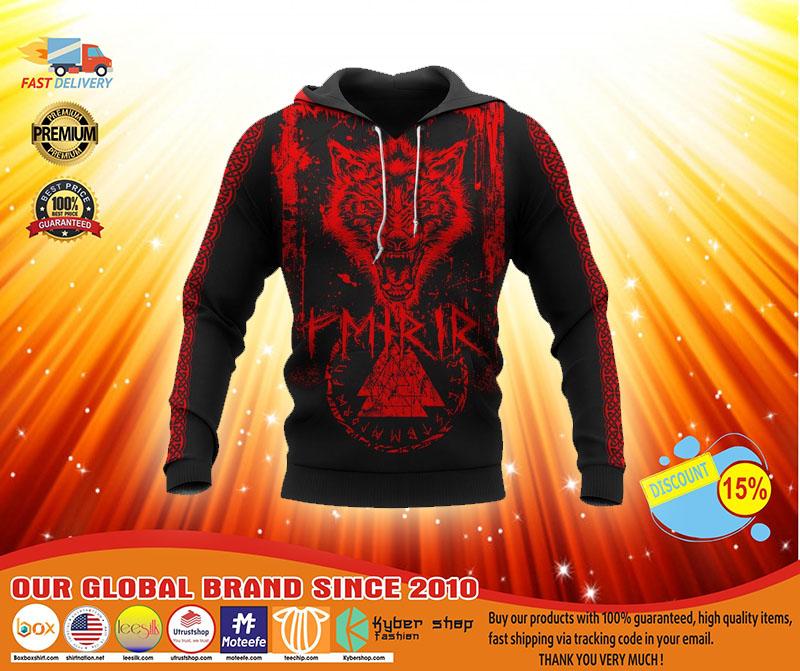 Viking fenrir wolf 3D hoodie3