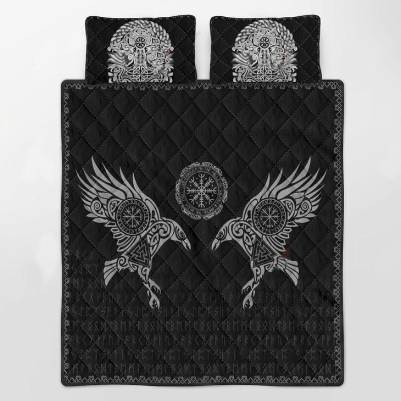 Viking the raven of Odin tattoo bedding set3