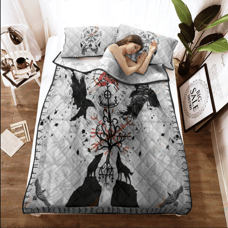 Viking vegvisir hugin and munin with fenrir yggdrasil bedding set2