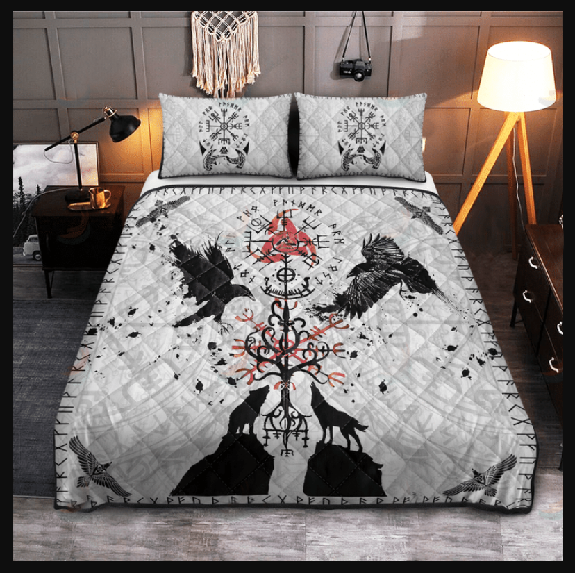 Viking vegvisir hugin and munin with fenrir yggdrasil bedding set3