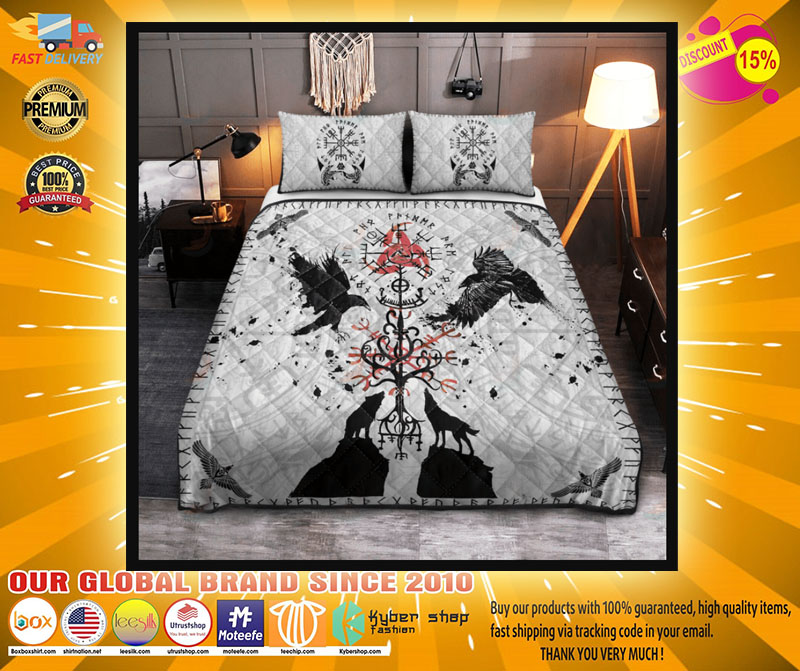 Viking vegvisir hugin and munin with fenrir yggdrasil bedding set4