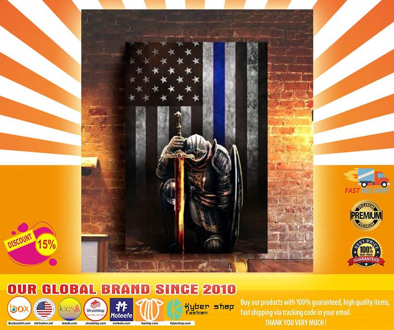 Warrior knight american blue line flag canvas4