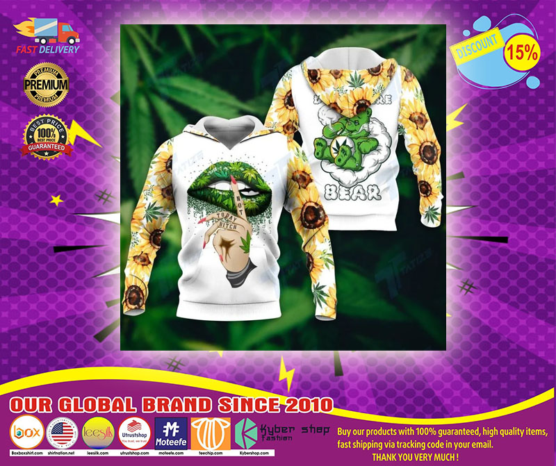 Weed dont care bear 3D hoodie1