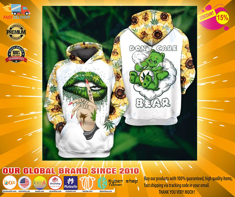 Weed dont care bear 3d hoodie and legging21