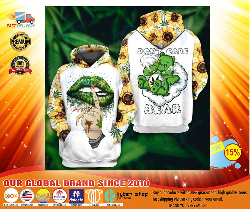 Weed dont care bear 3d hoodie and legging3