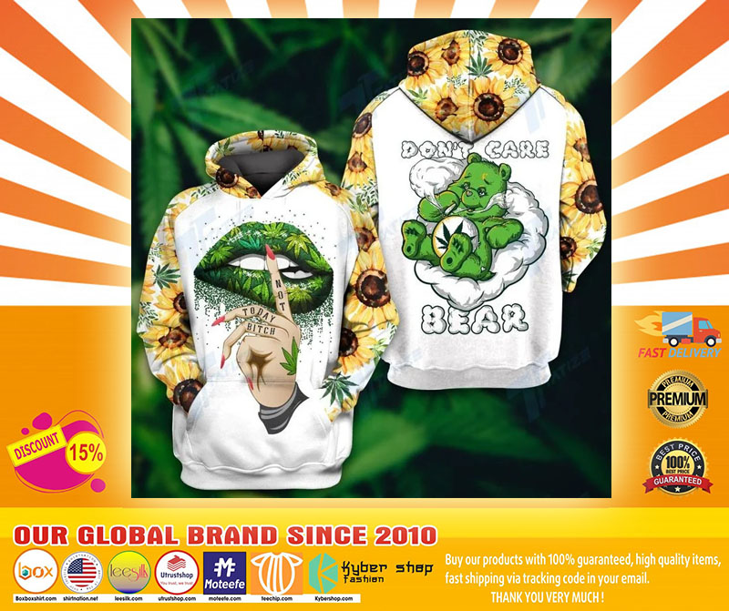 Weed dont care bear 3d hoodie and legging4