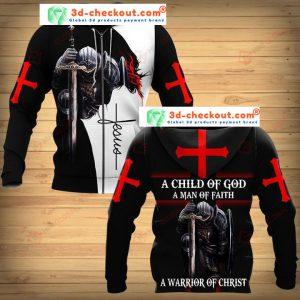 A child of god a man of faith a warrior of christ 3D hoodie zip