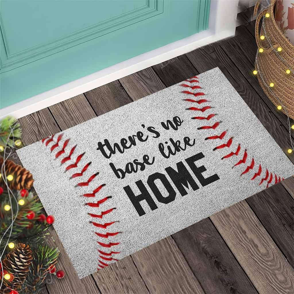 Baseball Theres no base like home doormat4