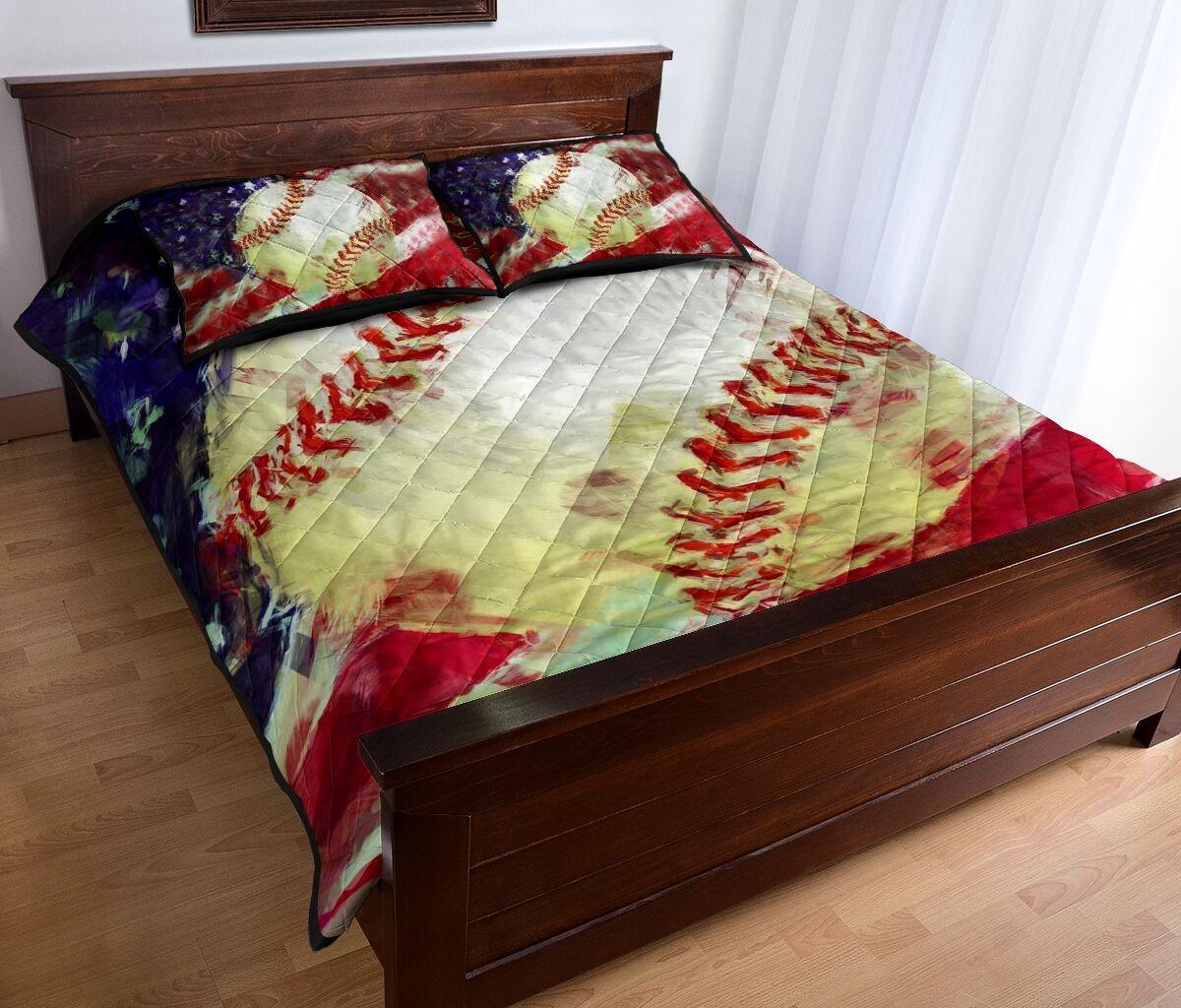 Baseball US painting quilt bedding set2