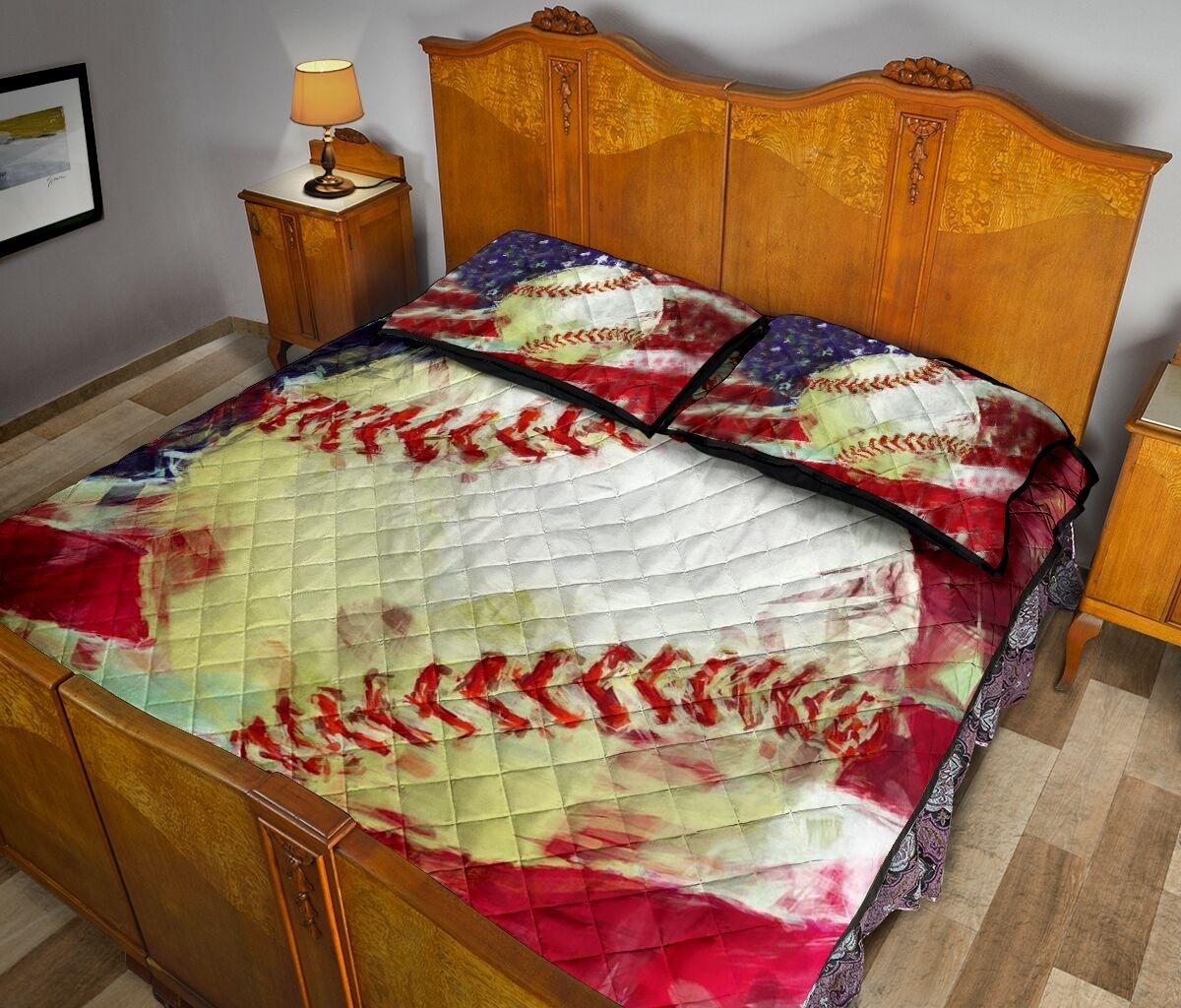 Baseball US painting quilt bedding set3