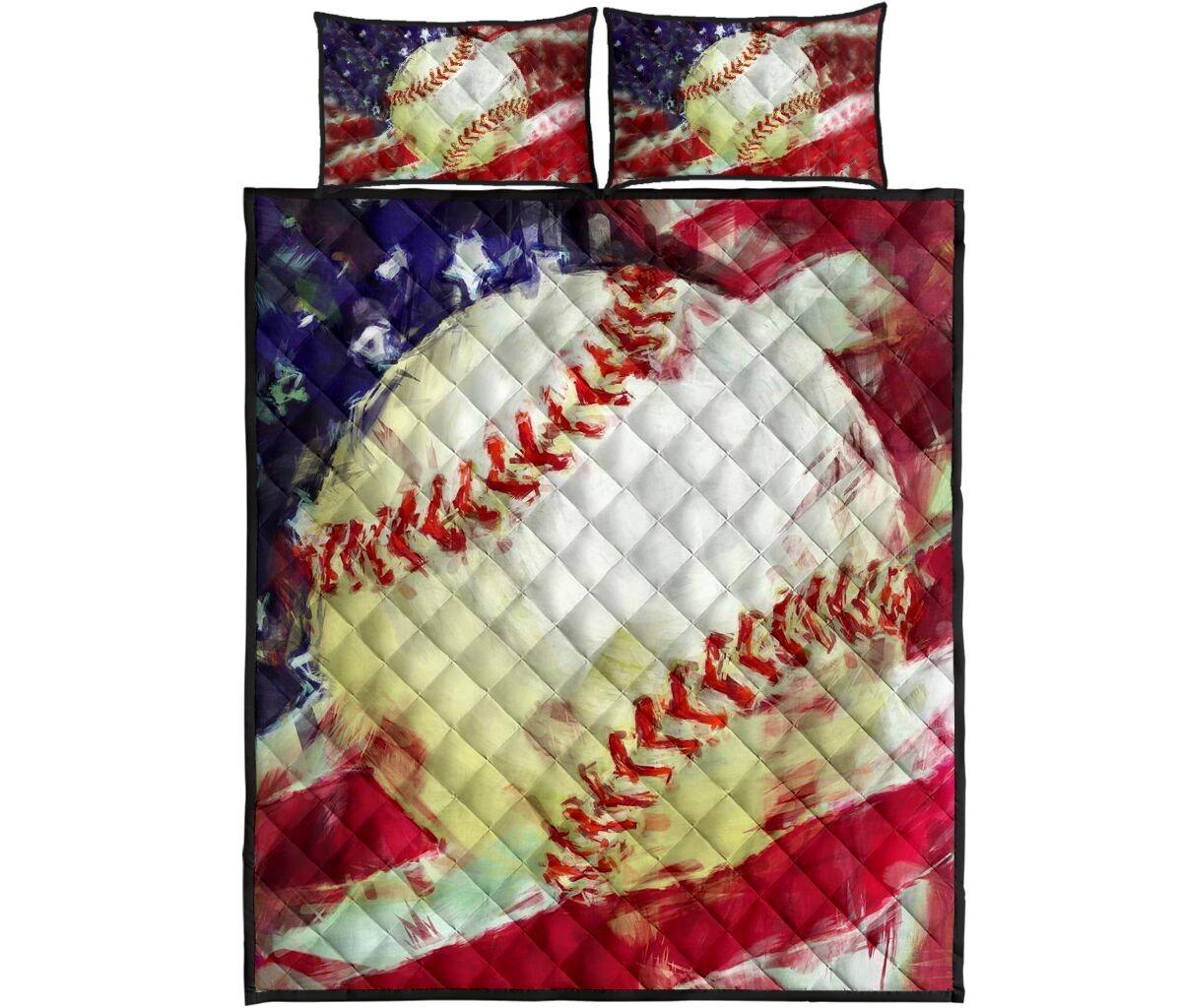 Baseball US painting quilt bedding set4