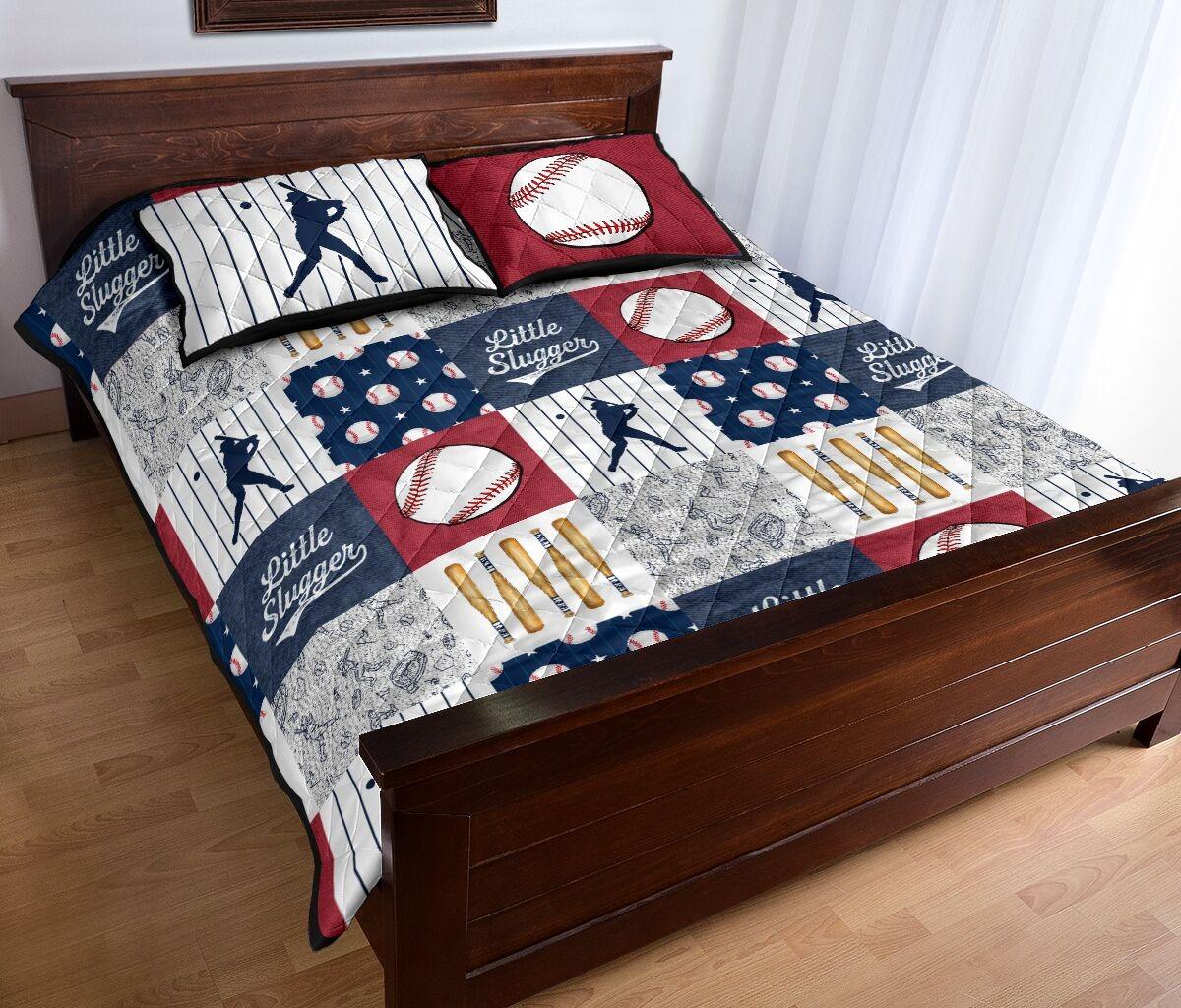 Baseball little slugger quilt bedding set2