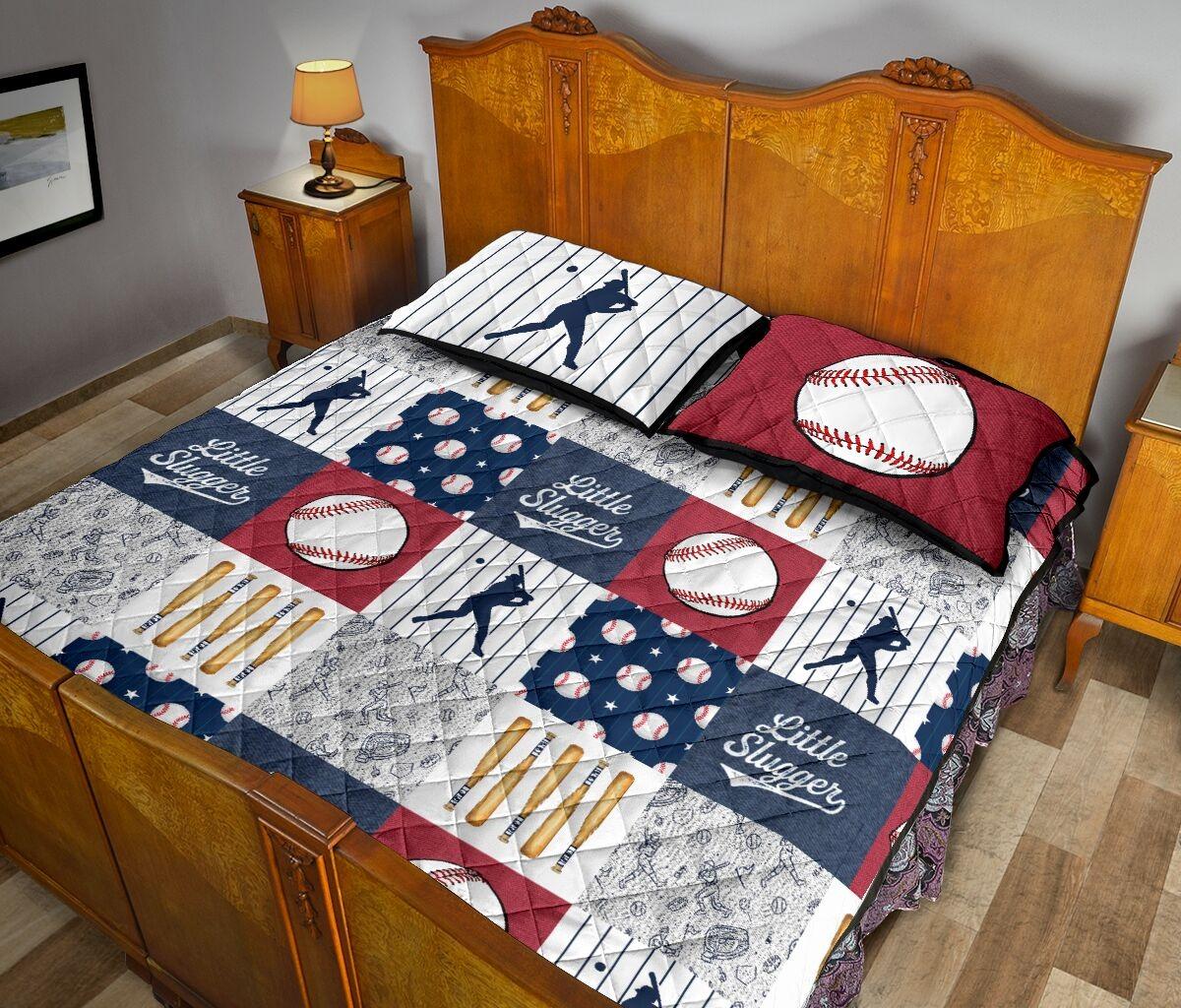Baseball little slugger quilt bedding set3