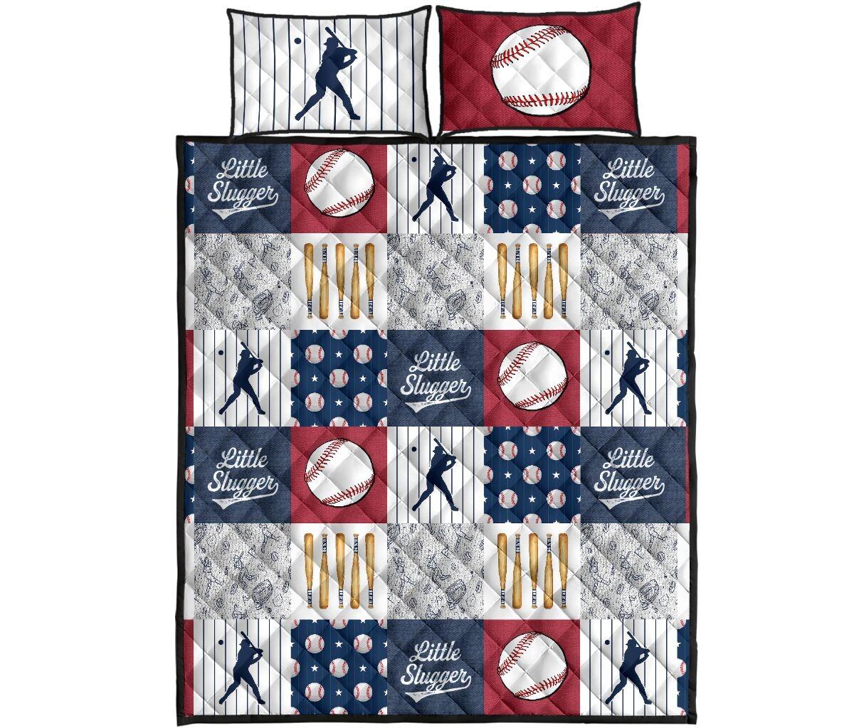 Baseball little slugger quilt bedding set4