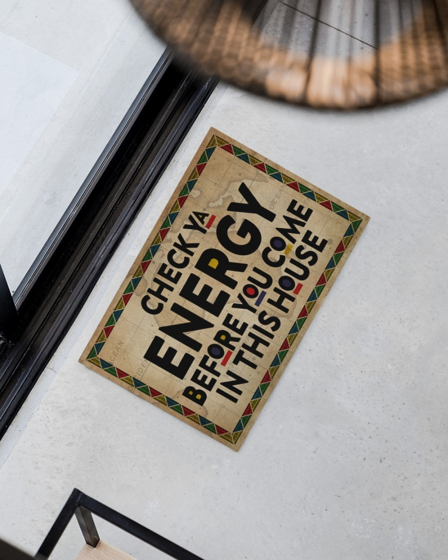Black Check ya energy before you come in this house doormat2