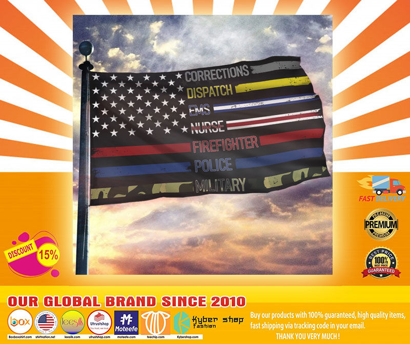 Corrections dispatch ems nurse firefighter police military flag4