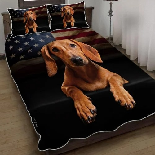 Dachshund American flag quilt bedding set2
