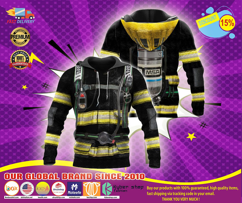 Firefighter suit all over print 3D hoodie1