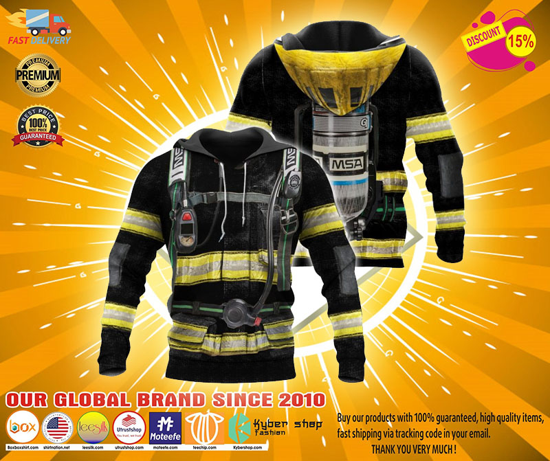 Firefighter suit all over print 3D hoodie2