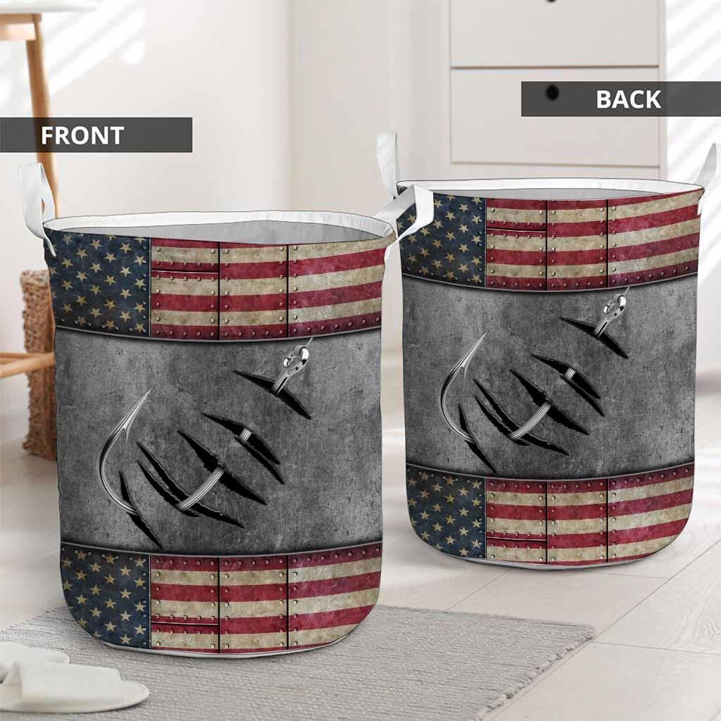 Fishing American flag basket laundry2