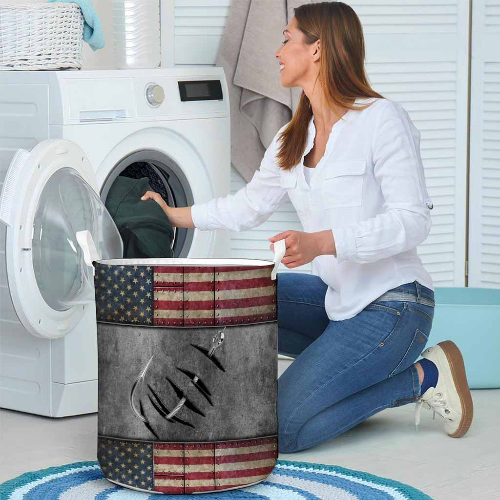Fishing American flag basket laundry4