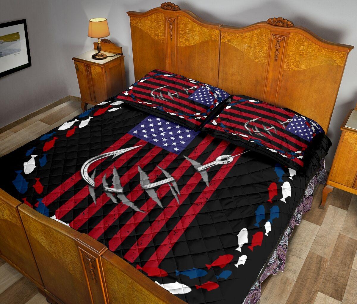 Fishing america quilt bedding set3
