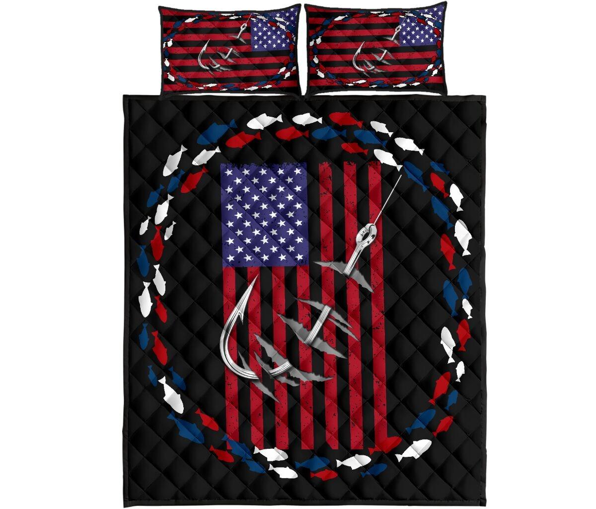 Fishing america quilt bedding set4