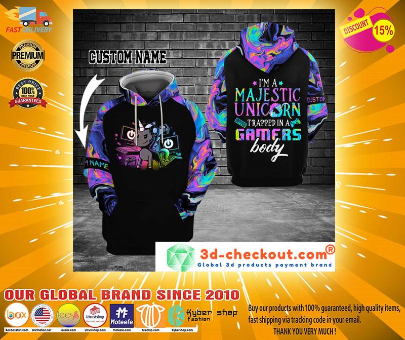 Gamer Im a majestic unicorn custom name 3D hoodie2