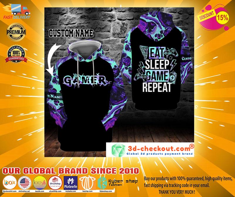 Gamer eat sleep game repeat custom name 3D hoodie2