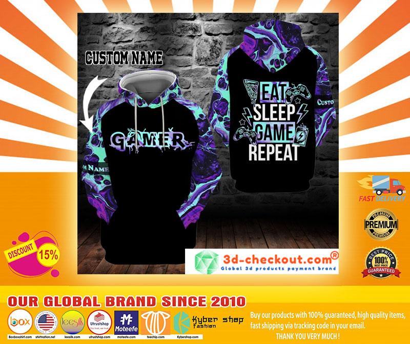 Gamer eat sleep game repeat custom name 3D hoodie4