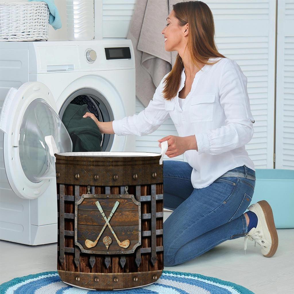 Golf faux metal print basket laundry4
