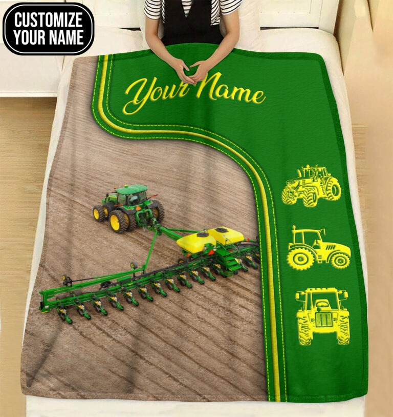 Green tractor farmer custom name blanket4