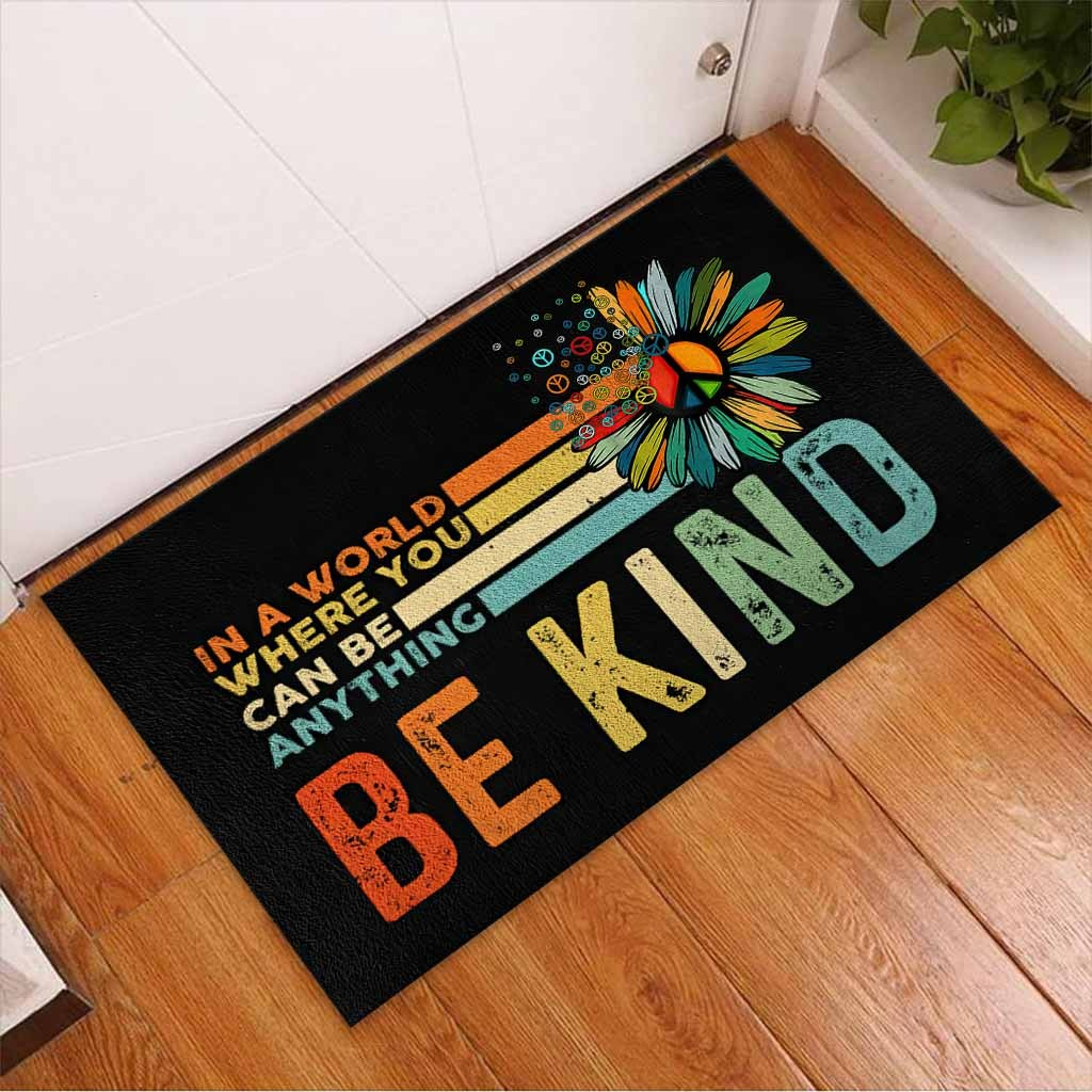 Hippie In a world where you can be anything be kind doormat3