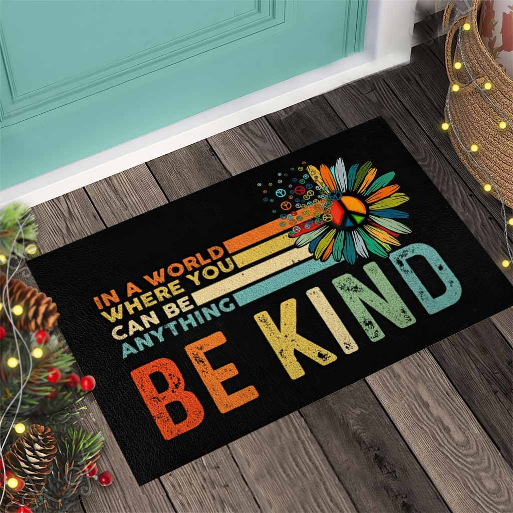 Hippie In a world where you can be anything be kind doormat4