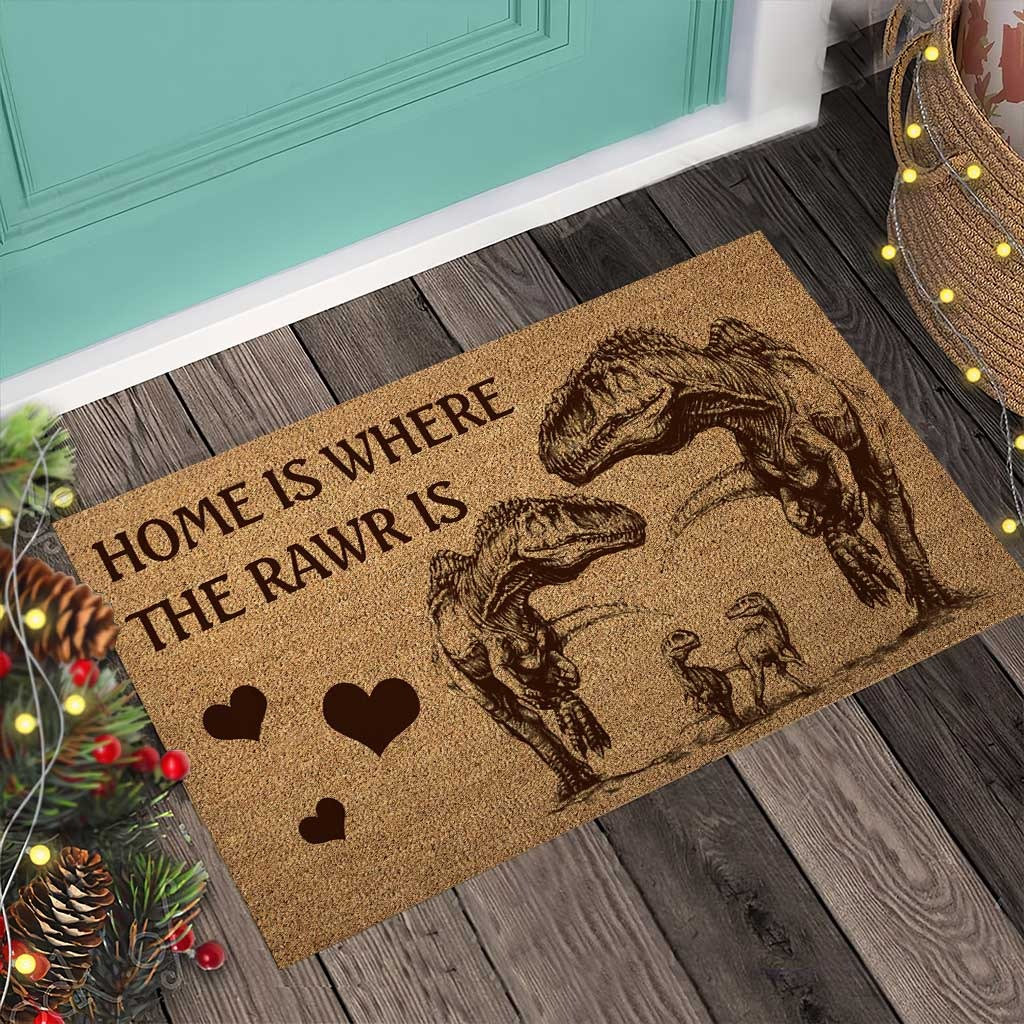 Home is where the rawr is dinosaur doormat4 1