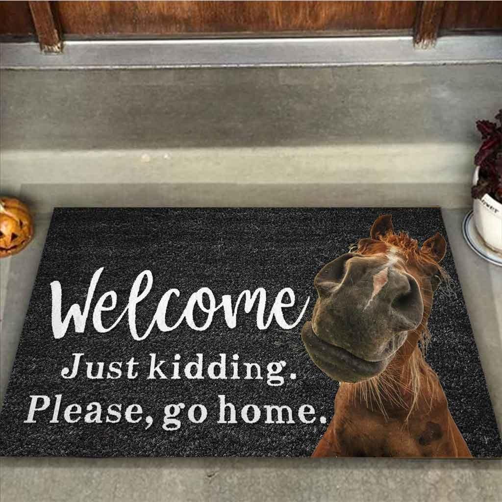 Horse welcome just kidding please go home doormat2 1